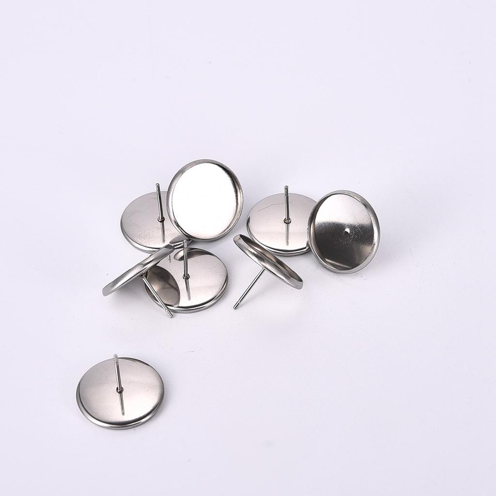 50//20PCS Stainless Steel Blank Earring Cabochon Cameo Bezel Base Tray Ear Studs