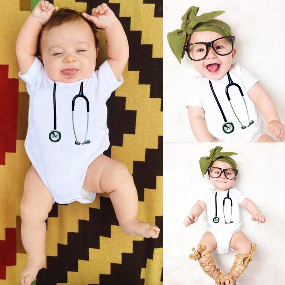 Romper Babygrow 0-24 Months Baby Doctor Nurse Gift Stethoscope Baby Bodysuit