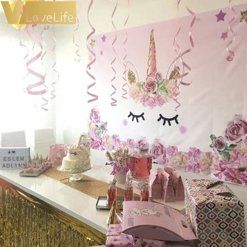 75ft Pink Unicorn Photo Backdrop Children Unicorn Birthday Baby Backgrounds Unicorn Party Supplies
