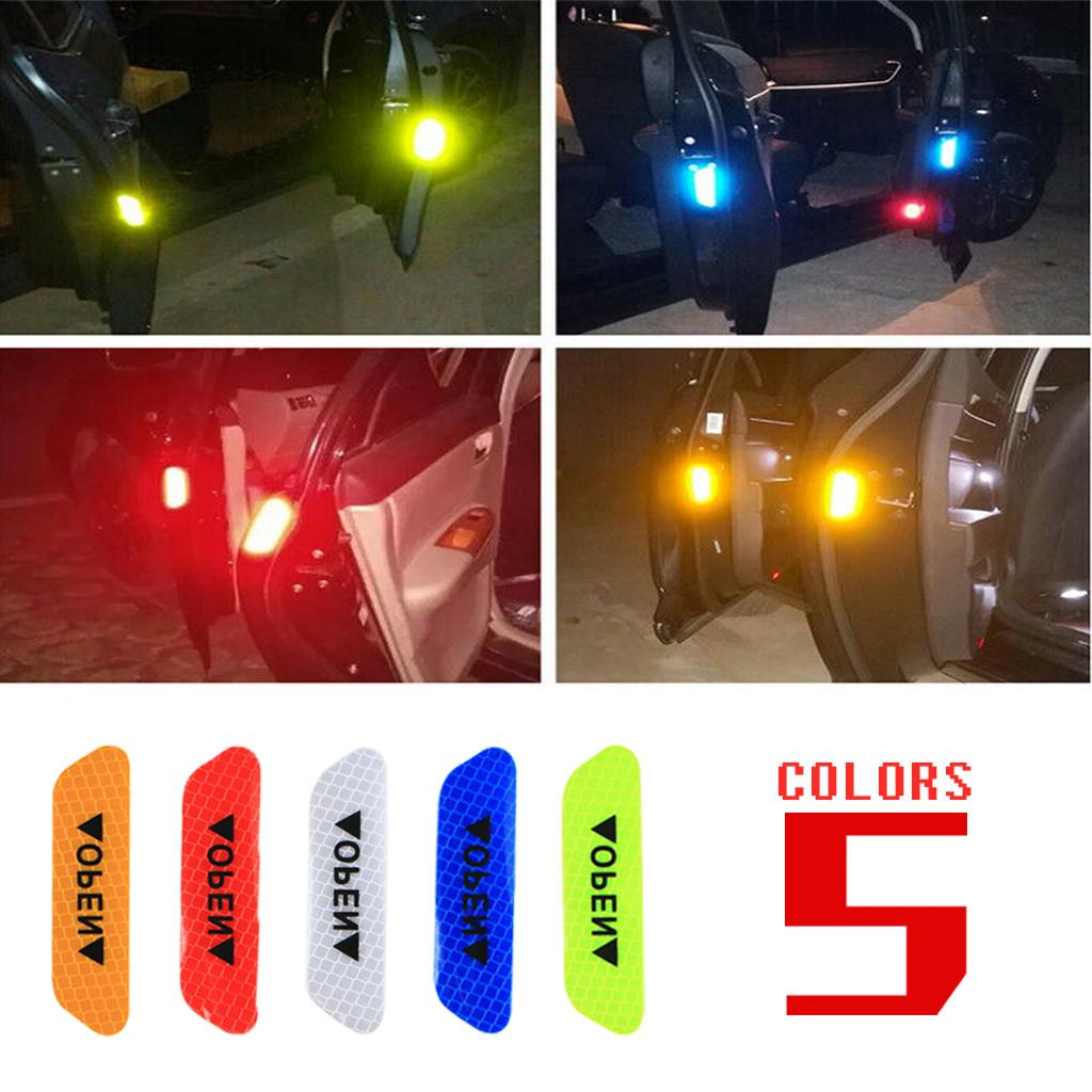 4PCS Auto Car Door Open Sticker Reflective Tape Safety Warning Decal Universal