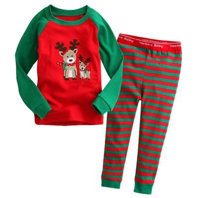Рождественские детские пижамы набор дети мальчики девочек оленей Топ +  полосатые брюки с длинным рукавом 995be1223a325