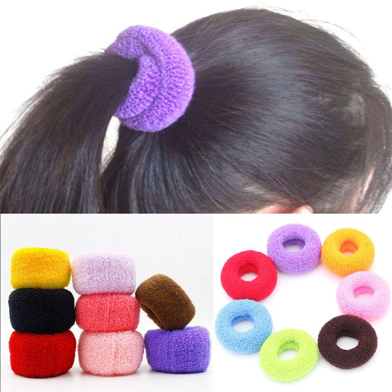 12 pcs//Set Women Wide Elastic Candy Color Towel Hair Bands Hair Rope Hair Ring