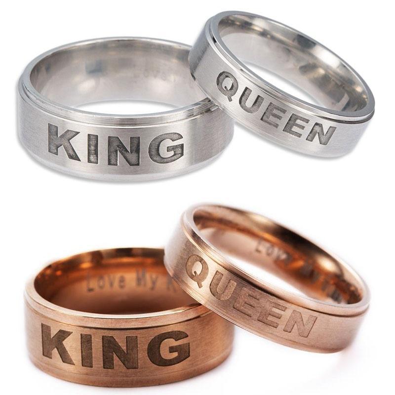 Argint şi De Aur Regele Regina Cuplu Inele Cadou De Valentines Day