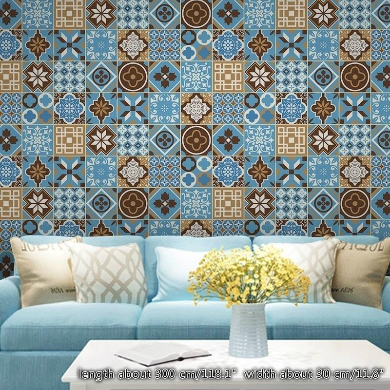 Floral Ethnic Mediterranean Wallpapers Tiles Stickers Self Adhesive Moroccan Wall Skirting Border Wall Decor Buy At A Low Prices On Joom E Commerce Platform