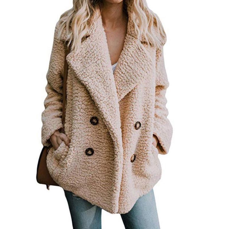 Women Teddy Bear Jacket Coats Winter Warm Fur Lapel Long Sleeve Outwear Overcoat