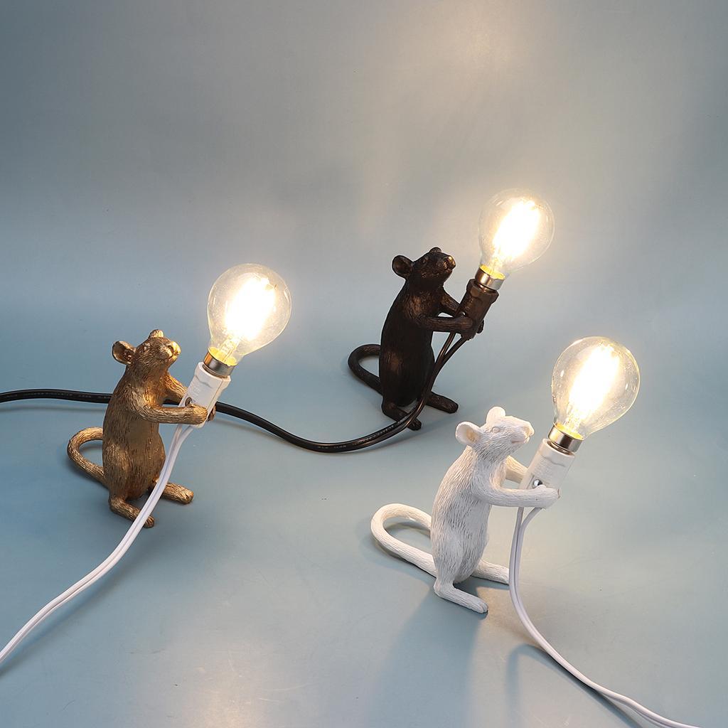 E12 Retro Rat Table Lamp Mouse Light Bedside Resin Lamp Home Office Desk Decor A