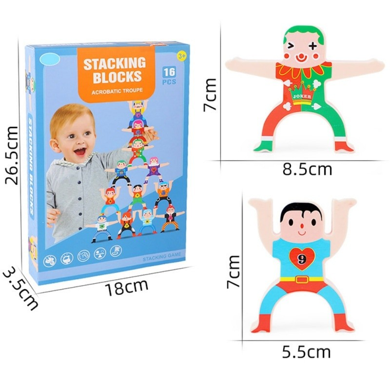 16×Wooden Stacking Games Set Interlock Balancing Building Blocks Educational Toy