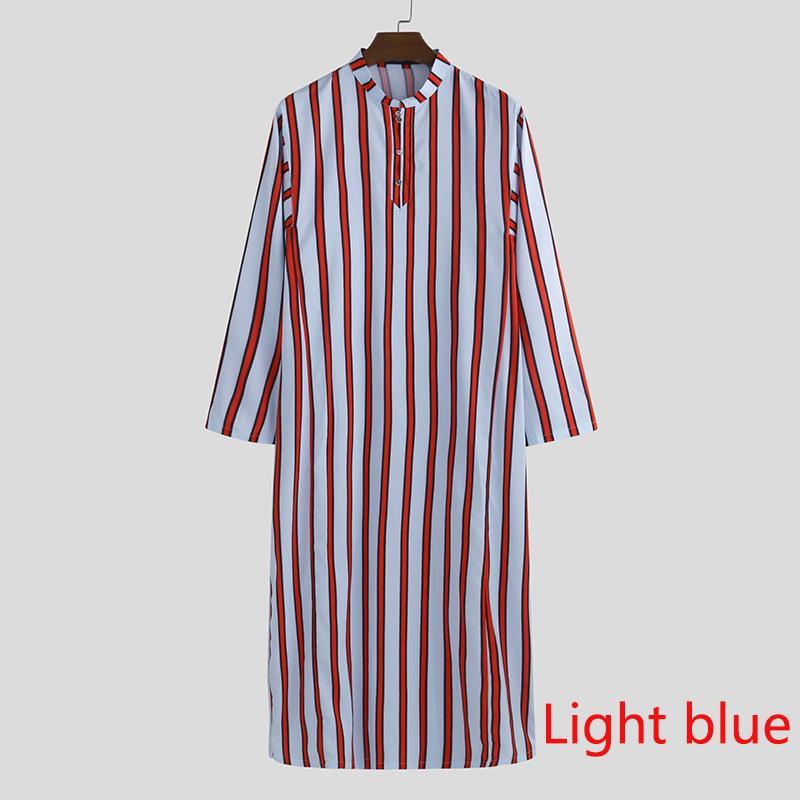 INCERUN Mens Striped T Shirt Jubba Kaftan Dishdash Thobe Arab Robe Islamic Dress