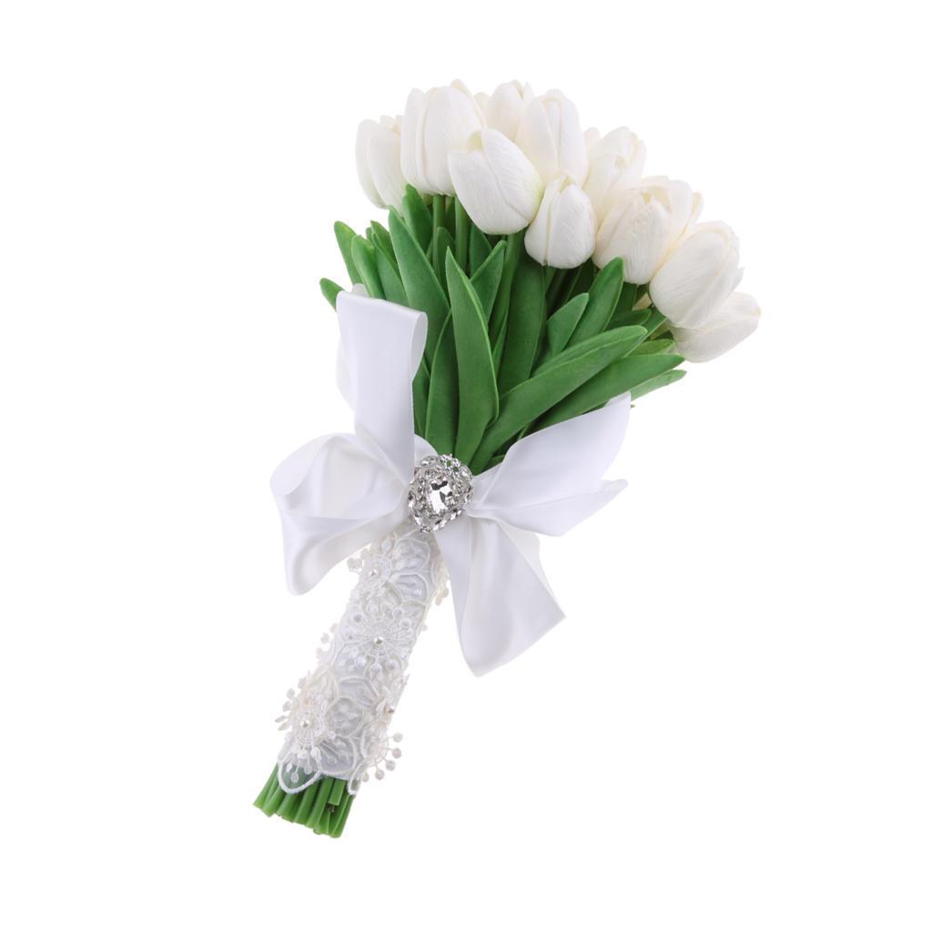 Künstliche Tulpe Blumenstrauß Brautstrauß Kunstblumen Hochzeit Braut Bouquet