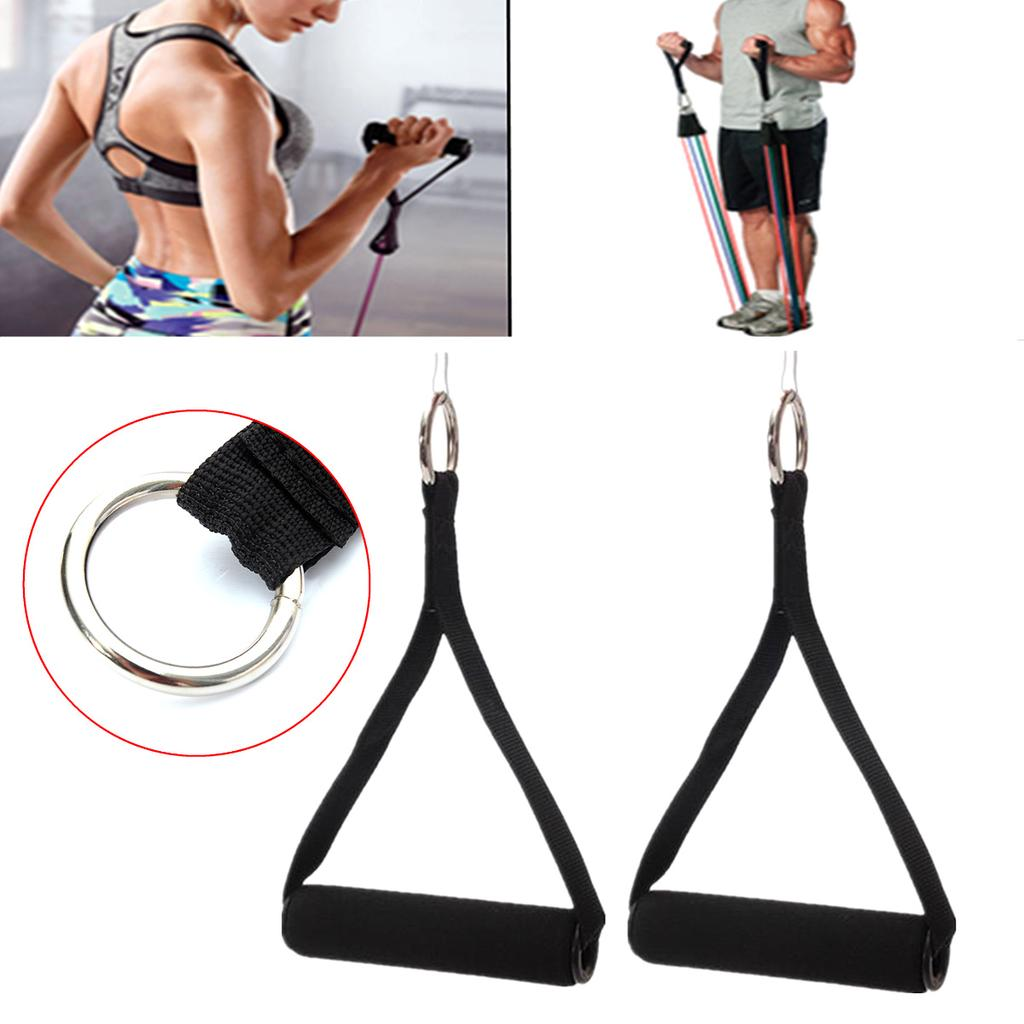 2PCS Tricep Rope Cable Attachment Handle Bar Resistance Band Exercise Gym Home