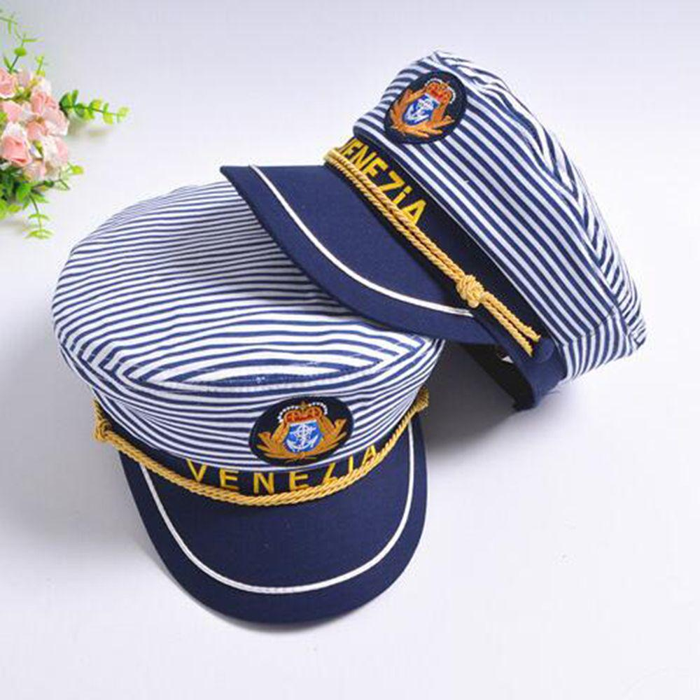 Mens Adults Sailor Marine Navy Cap Hat Nautical Fancy Dress Accessory
