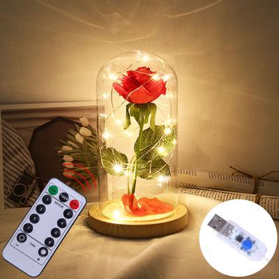 Artificial Rose Led Glass Bottle Lamp Night Light Home