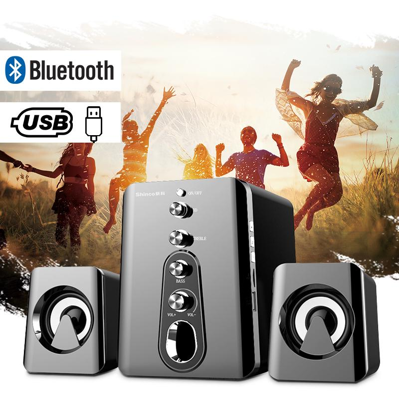 Stereo Sound MP3 Player FM Radio Remote Control AUX Loud Rich Bass USB TF Card LED Light Shinco Portable Bluetooth Speaker with Subwoofer Great for Home Outdoor Travel