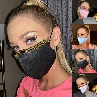 Fashionable Adjustable Rhinestone Mask Solid Color Printing Mask