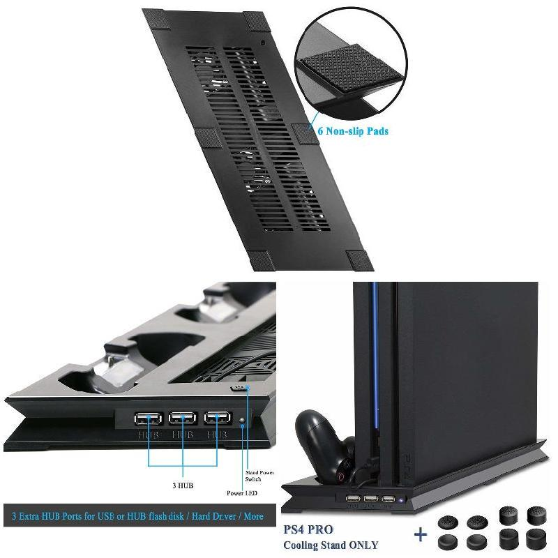 Dual Controller Stand Pro 4 Cooling Playstation PS4 Charging Fan for  Vertical
