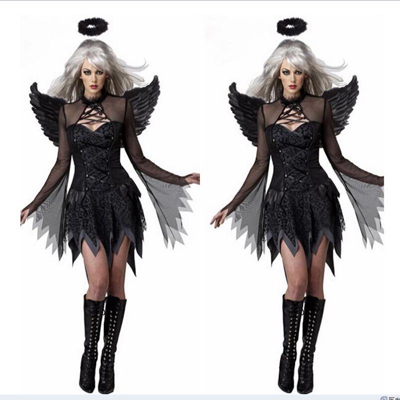 Halloween Women/'s Dark Angel Devil Ghost Costume Fancy Dress Bar Party Cosplay