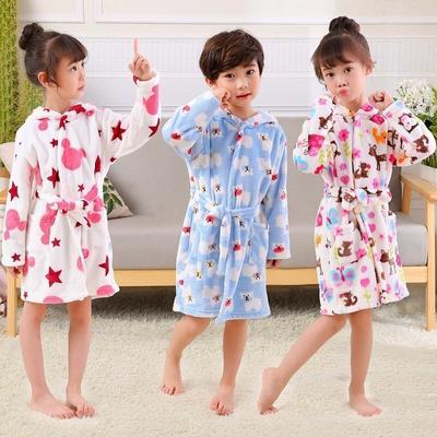 Kids Little Boys Girls Hooded Pajamas Cartoon Animal Bath Robes 100 110 120 130+