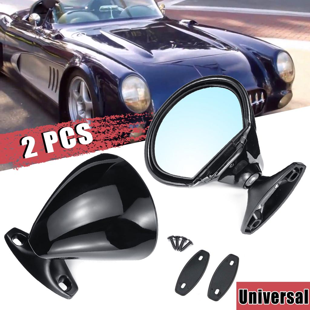 Pair Universal Classic Car Door Side View Mirror /& Gaskets Vintage Matte Black