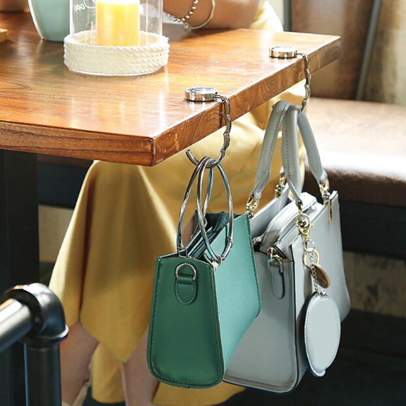 Home Portable Folding Crystal Alloy Purse Handbag Hook Hanger Bag Holder Hooks