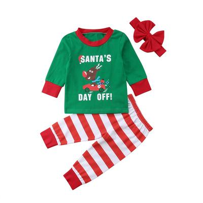 bf2f2a09e Kids Baby Girl Boy Christmas Clothes Print Deer Car Tops Pants 3PCS Outfits  Nightwear Pajamas