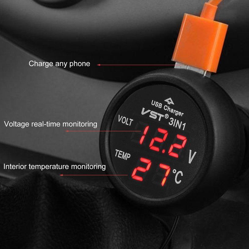 Thermometer 3 in 1 12//24V Auto Auto LED Digital Voltmeter Messgerät USB