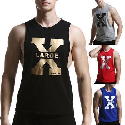 Lies Mens Printed Vest Sports Tank-Top Tee Leisure T-Shirt Sleeveless Shirts