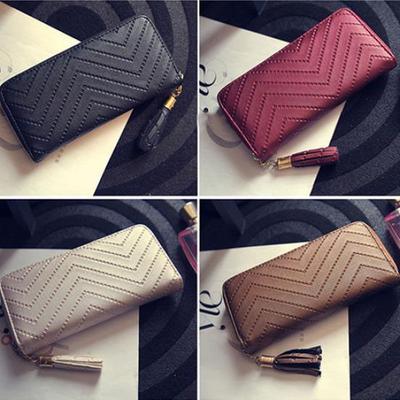 3ea5f256 Kobiety Faux Leather Card Holder Długi portfel Clutch Checkbook Tassel  Torebka Torebka