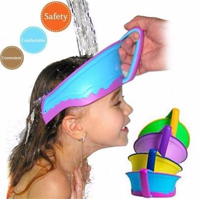 Niños bebé ajustable baño visera gorro ducha Cap niños niño proteger ... 03d818d657f
