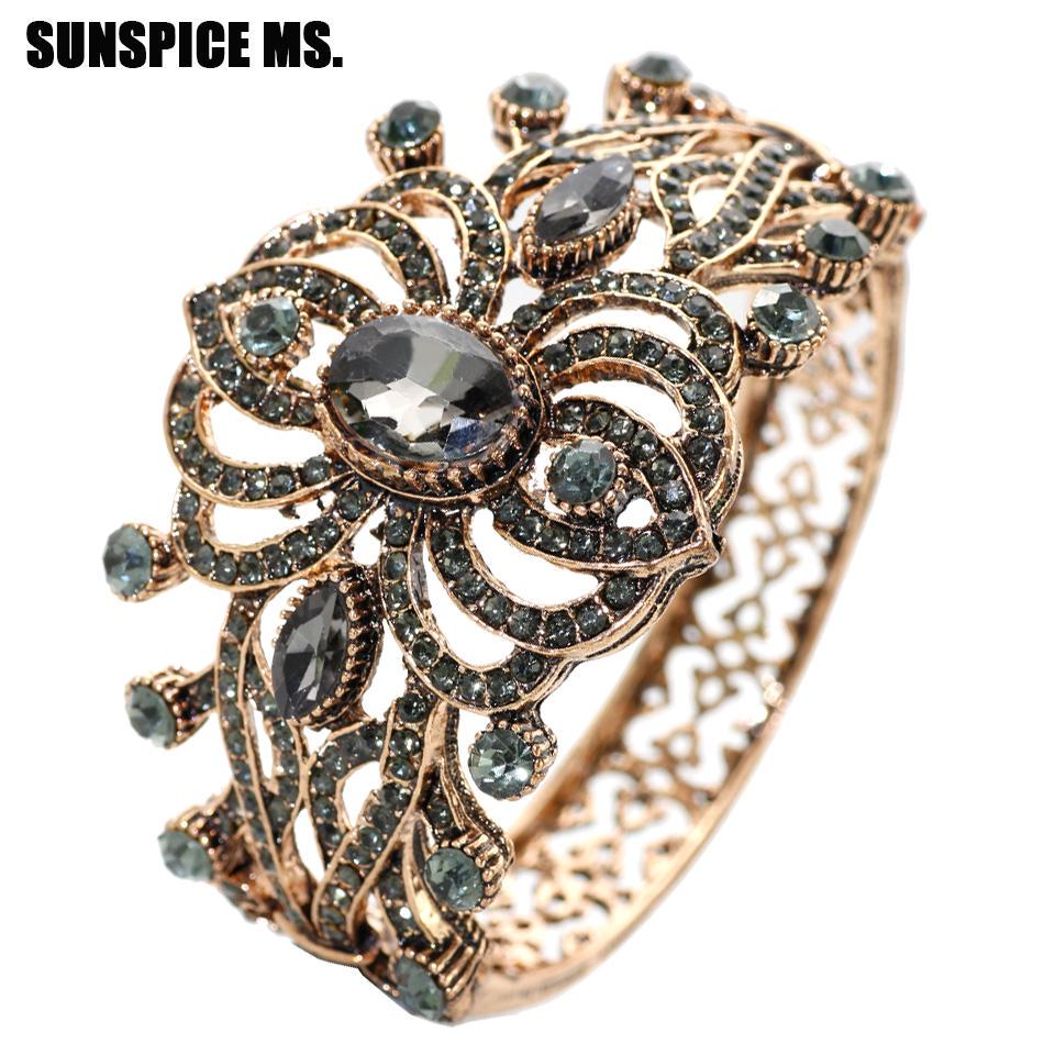 Hollow Flower Bangle Resin Crystal Anti Gold Plated Bracelets Party Accessories