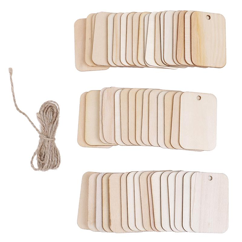 50pcs Wooden Rectangle Shape Tag Embellishment for Craft with Rope White