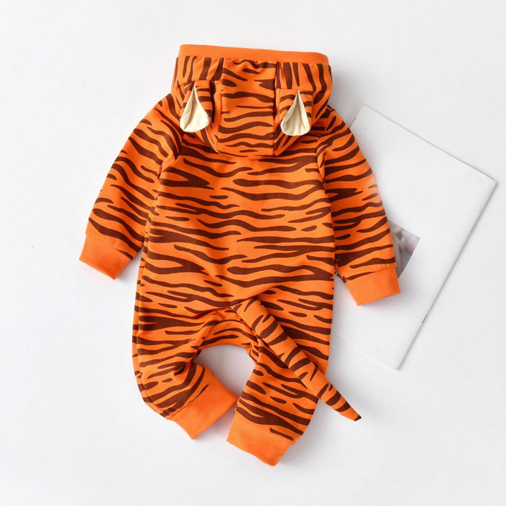 Newborn Baby Girl Boys Cartoon Tiger Hooded Romper Jumpsuit Outfit Clothes