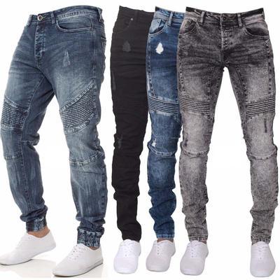 Moda hombres Casual cintura recta medio flaco pantalones Denim ... 658e0c404315