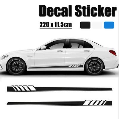 92a7987688 2Pcs Car Side Body Vinyl Decal Sticker Racing Sports ong Stripe Decals  Graphics