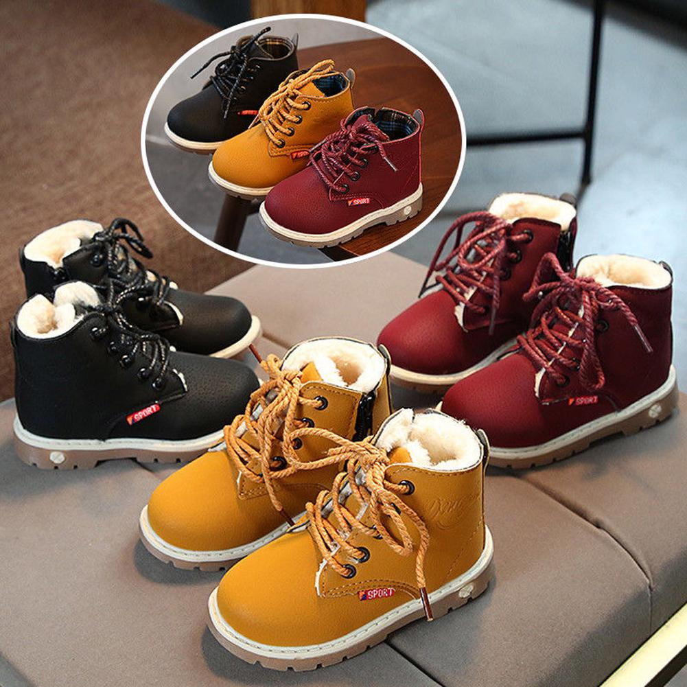 Kids Boys Winter Warm Shoes Waterproof Ankle Fur Lined Boots Size UK 8.5-12.5