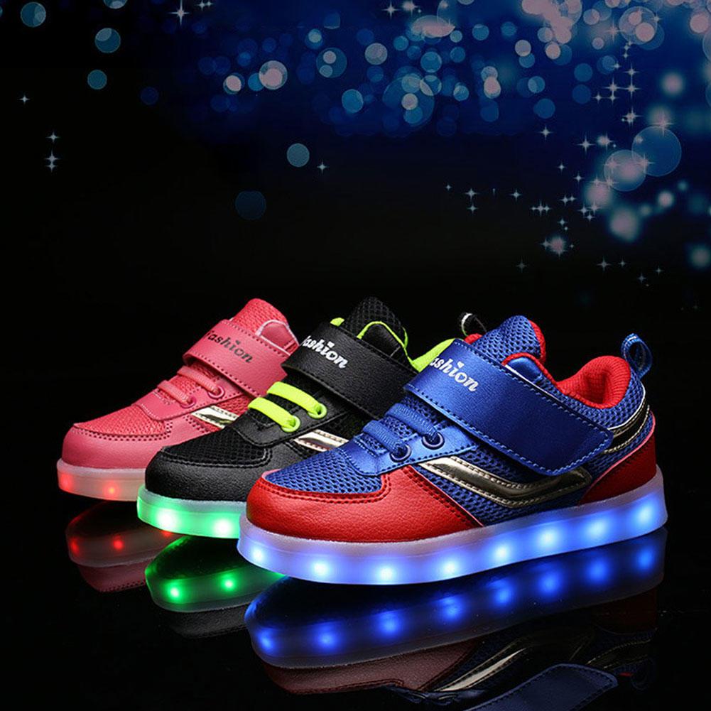 厂家直销2017速卖通新款LED发光鞋时尚男女童鞋USB充电休闲板鞋