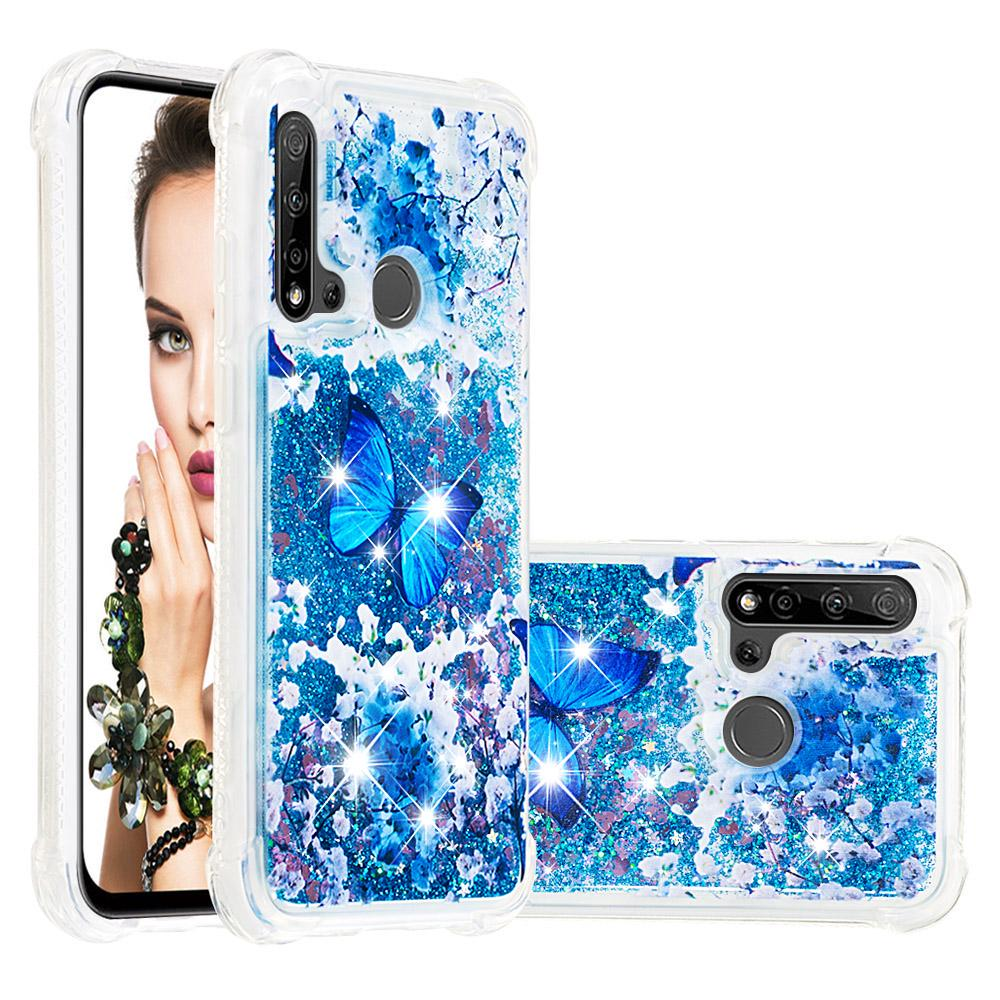 Flash Powder Butterfly Glitter Liquido Quicksand Custodia per iPhone 12 Samsung S20 Xiaomi Huawei Copertura