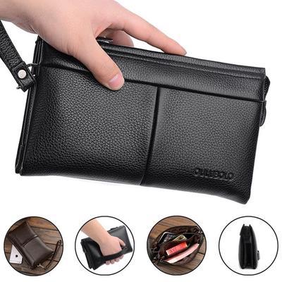 3b06fd45c595 Бизнес Мужская Пу сцепления сумочку длинный кошелек большой емкости сотовый  телефон клатч съемный