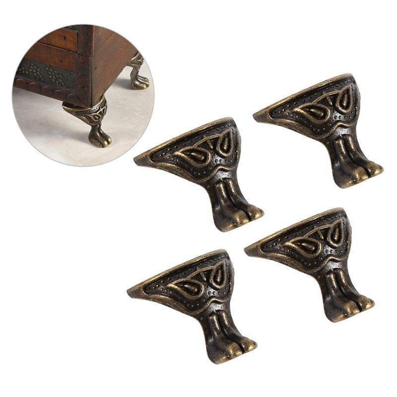 4Pcs Antique Alloy Box Wood Case Decorative Feet Legs Corners Furniture Leg