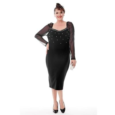 Plus Size Sleeve Walloon Pearl Dress
