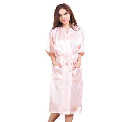 Women Kimono Sleepwear Fashion Solid Color Wedding Bridesmaid Robe Satin  Rayon Bathrobe Nightgown e0024f9ee