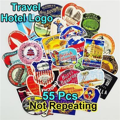 Vintage International Hotel Stickers Creative Graffiti Skateboard Decals 55Pcs