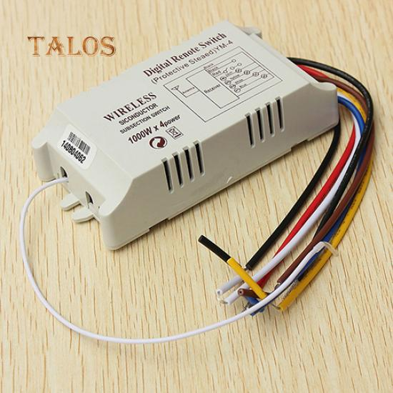 AC 220V Digital Remote Control Switch 4 Ways ON//OFF Controller For Light Lamp