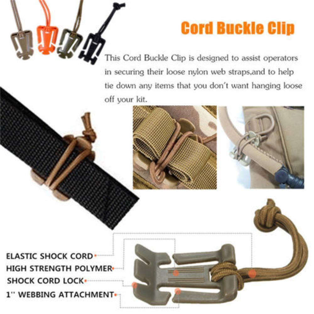 10x Outdoor Military MOLLE Elastic Cord Hang Buckle Backpack Bag Strap Clips