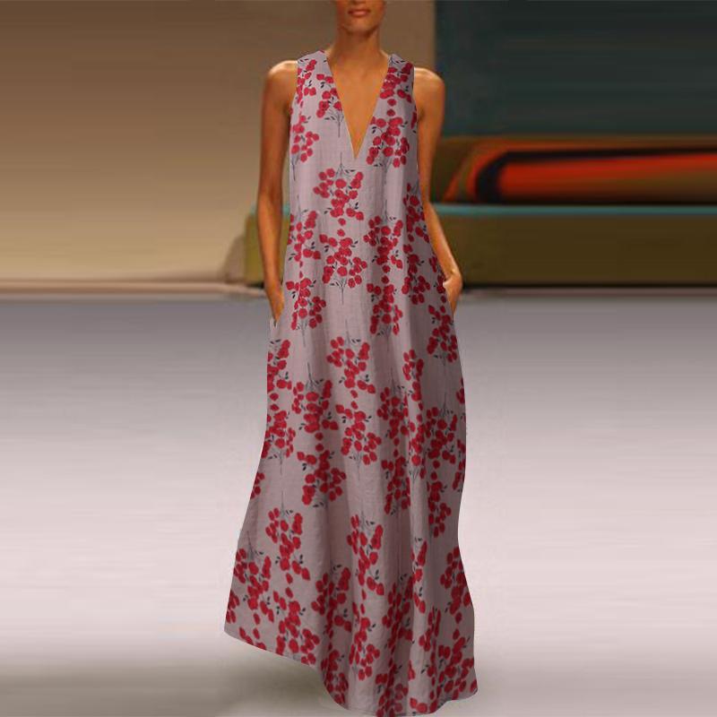 ZANZEA Women Summer Sleeveless Floral Sundress Ladies Loose Cocktail Party Dress