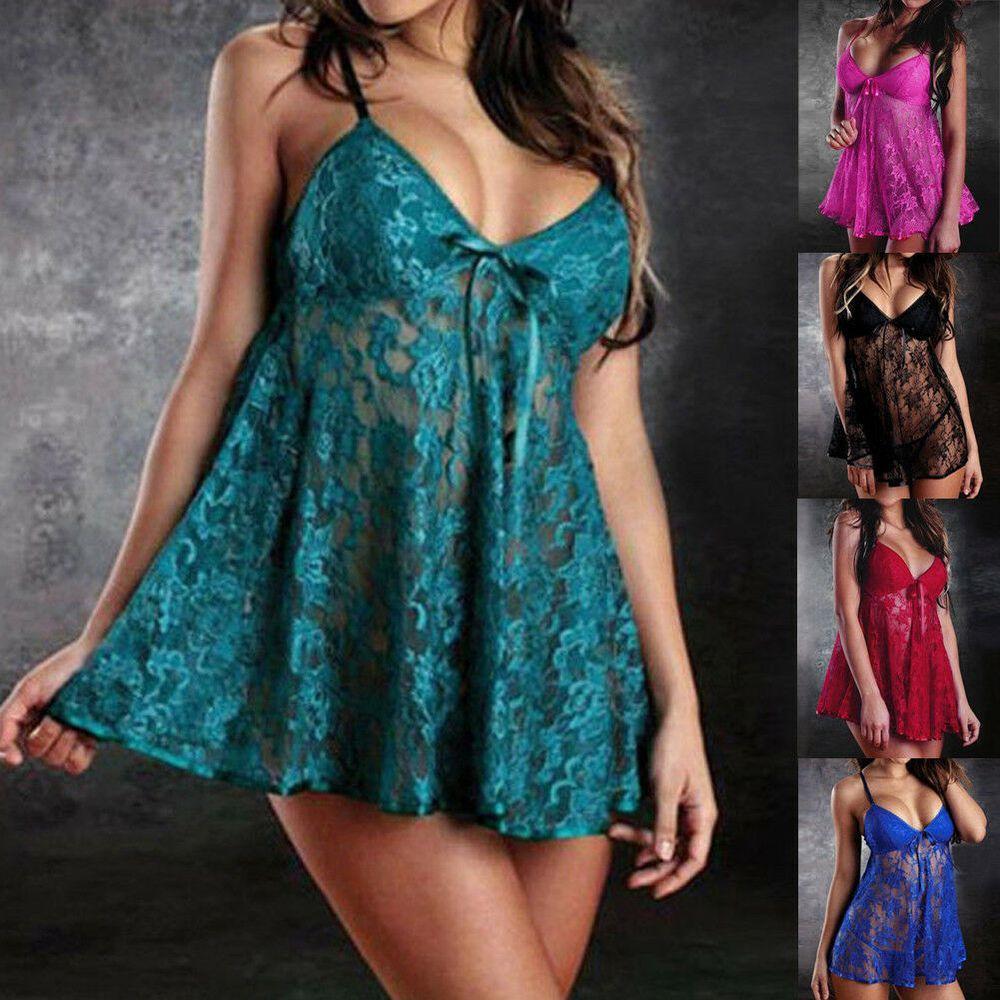 Women-Silk-Lace-Robe-Dress-Babydoll--Nightgown-Sleepwear-Nightwear
