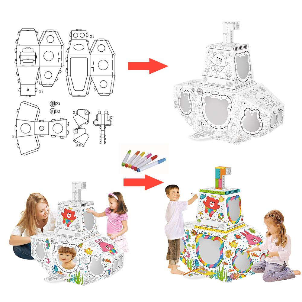Diy 3d Kagit Katlanir Craft Kit Buyuk Karton Denizalti Sanat Kiti