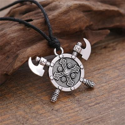Axes Shield Viking Cross Gladiator Medieval Pewter Pendant with Cotton Necklace