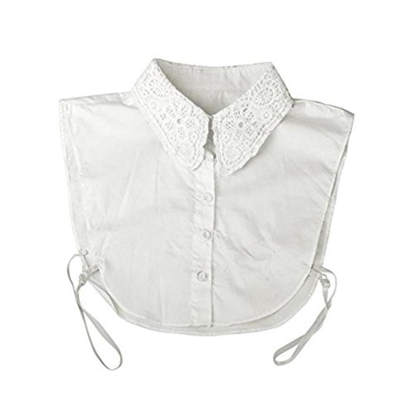 Women Girls Chiffon Wrinkled Detachable Half-Shirt Ruffles High Neck Fale Collar