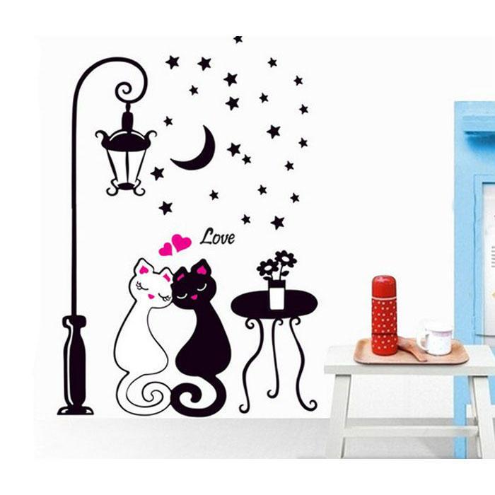 情侣猫黑白猫咪卡通可爱家居沙发装饰墙贴纸TC920 / LD813