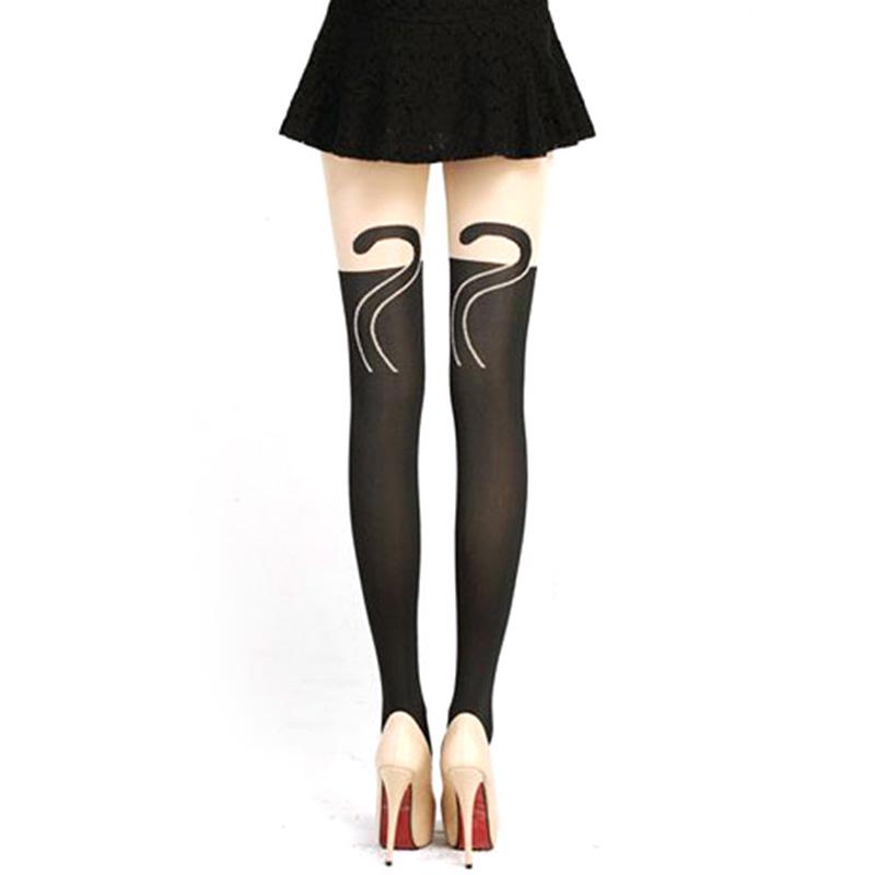 High Elasticity Girl Cotton Knee High Socks Uniform Flamingo Pattern Women Tube Socks